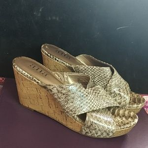 Ana Snakeskin cork wedge slides sz 6